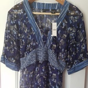 New York & Company Women's Blue Floral Tunic